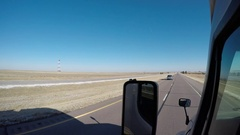 Exterior Shot - A KLLM Semi-Truck Passes in the Left Lane  Stock Footage