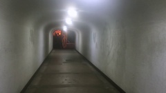 An Eerie Empty Tunnel at Night with Flickering Light Stock Footage
