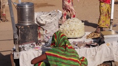Rajasthani women roadside vendors selling in colourful traditional clothing vari Stock Footage
