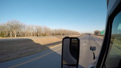Exterior Shot - A Ford Pickup Truck Passes in the Left Lane - Rural Nebraska, US Stock Footage