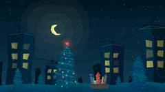 Winter night outdoor town landscape with falling snow. Vector illustration. Piirros