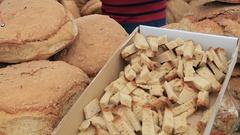 Variety of bread on shelves at bazaar 2 Stock Footage