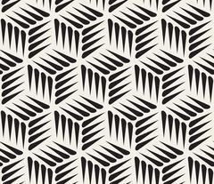 Vector Seamless Black and White Thorn Shape Cubic Geometric Pattern Stock Illustration