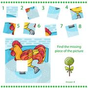 Find missing piece - Puzzle game Rooster Stock Illustration