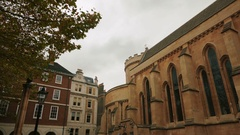 Gimbal shot featuring the famous Temple Church in London, England, UK Stock Footage