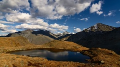 Time Lapse. The movement of clouds over alpine lake in the valley of Seven Lakes Stock Footage