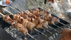 Barbecue grilled succulent meat on skewers in outdoor fireplace with hot embers Stock Footage