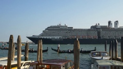 Venice san marko bay ducale palace cruise liner canal view panorama 4k italy Stock Footage