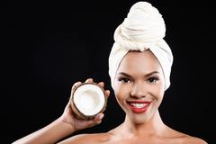 Jolly girl in turban is smiling Stock Photos