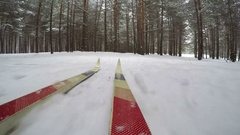 Concept winter Christmas forest. Cross Country Skiing on Snowy Winter Day. POV Stock Footage