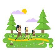 Travel family with backpack Stock Illustration