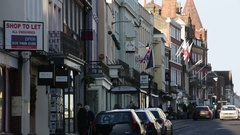 Shops and houses: typical street in England Stock Footage