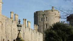 Windsor Castle: the beautiful towers and walls, England Stock Footage