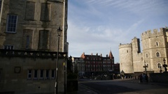 The Henry VIII gateway in the Lower Ward, Windsor Castle, England - pan Stock Footage