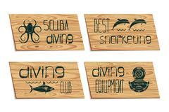 Set design logo scuba diving Piirros