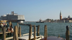 Venice san marko bay ducale palace cruise liner canal panorama 4k italy Stock Footage