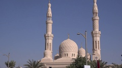 Front view Dubai Mosque pray place Islamic worship religious monument columns 4K Stock Footage