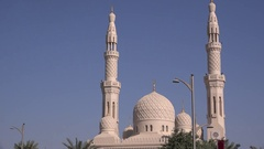 Superb Dubai Mosque building praying place for Islamic people full size summer Stock Footage