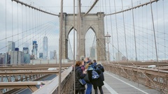 New York City, USA -: Tourists walk and make photo on the famous Stock Footage