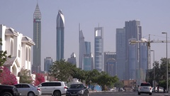 4K skyline Dubai urban scene expensive residential real estate skyscrapers view Stock Footage