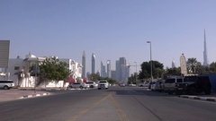 Empty street in Dubai residential houses Burj Khalifa tower and business area 4K Stock Footage