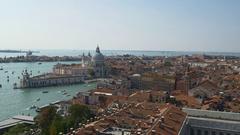 Venice santa maria della salute basilica campanile view point panorama 4k italy Stock Footage