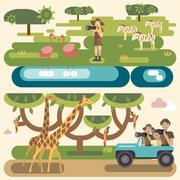 African safari concept set Piirros