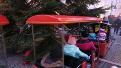Locomotive merry-go-round on Christmas fair on Spandau district of Berlin. Stock Footage