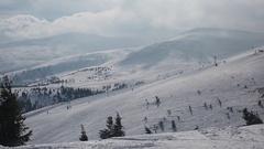 Ski resort on windy day Stock Footage