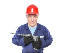 Construction worker with drilling machine Stock Photos
