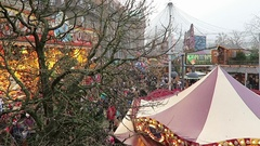 Merry-go-round and stalls on Christmas fair on Spandau district of Berlin. Stock Footage
