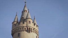 Medieval Tower in Frankfurt Stock Footage