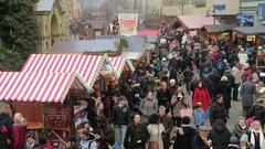 Christmas fair on Spandau district of Berlin. Stock Footage
