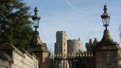 Windsor Castle and beautiful lanterns in England Stock Footage