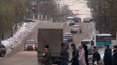 View of winter street in Kirov. Stock Footage