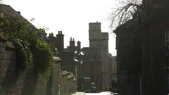 Historical Windsor town street: typical street in England Stock Footage