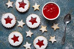Cookie stars. Homemade biscuits cookies with strawberry jam. Home Useful Stock Photos