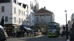 Double decker bus on Windsor - high street Stock Footage