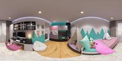 Spherical 360 degrees, seamless panorama bedroom Stock Illustration