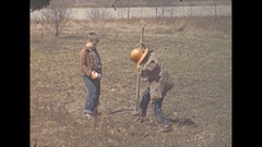 Vintage 16mm film, 1940 Illinois, boys playing miner, pond and view Stock Footage