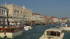 Sun light day san marco zaccaria boat stop ride canal traffic panorama 4k italy Stock Footage