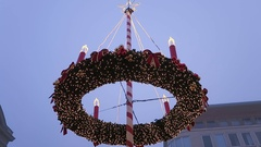 Christmas fair decoration and stalls on Spandau district of Berlin. Stock Footage