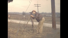 Vintage 16mm film, 1940 Illinois, surveyor Stock Footage
