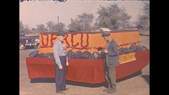 Vintage 16mm film, 1940 Illinois, parade float Dering coal company Stock Footage