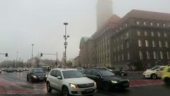 Traffic on crossroad at Christmas fair on Spandau district of Berlin. Stock Footage