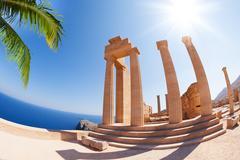 Lindos Acropolis' main staircase of the propylaea Stock Photos