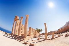 Lindos Acropolis' columns of the Hellenistic stoa Stock Photos