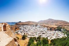 Beautiful landscape of Lindos, view from Acropolis Stock Photos