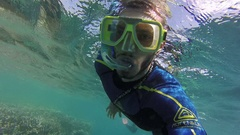 Great Barrier Reef, Young Man Swimming Stock Footage