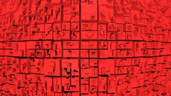 4k Seamless looping 3d animation of an abstract red blocks background Stock Footage
